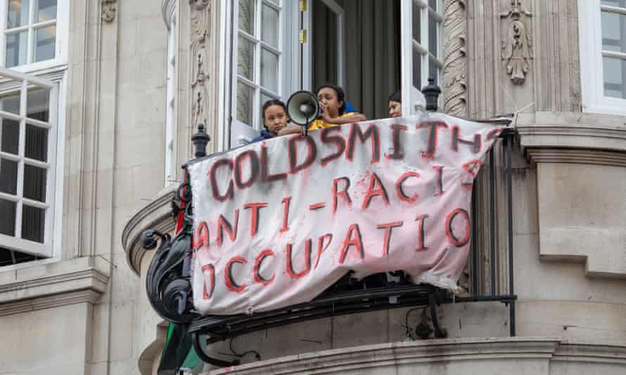Students stage an anti-racism protest at Goldsmiths