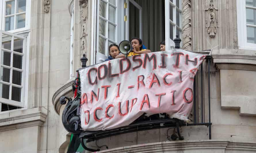 Goldsmiths students stage an anti-racism protest at Deptford Town Hall in March 2019