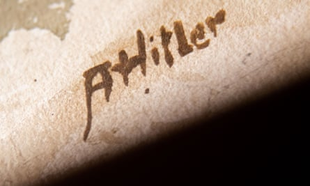 The signature on a watercolour purportedly made by Adolf Hitler, which went on sale in Nuremberg