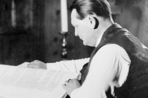 Herman Goering reading Adolf Hitler's Mein Kampf in 1939