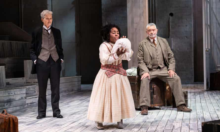 Alison Halstead (centre) 'exudes fun, for both her and us, as Carlotta' with Jenny Seagrove as Gaev (left) and Martin Shaw as Lopakhin in The Cherry Orchard.