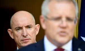 Prime minister Scott Morrison and minister for government services Stuart Robert.