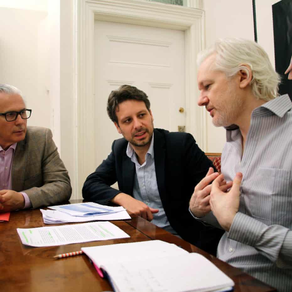From left: Baltasar Garzón, Guillaume Long and Julian Assange
