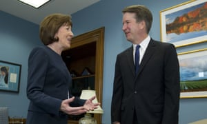 Senator Susan Collins speaks with the then supreme court nominee Judge Brett Kavanaugh. She was reassured that he would not seek to overturn Roe v Wade.