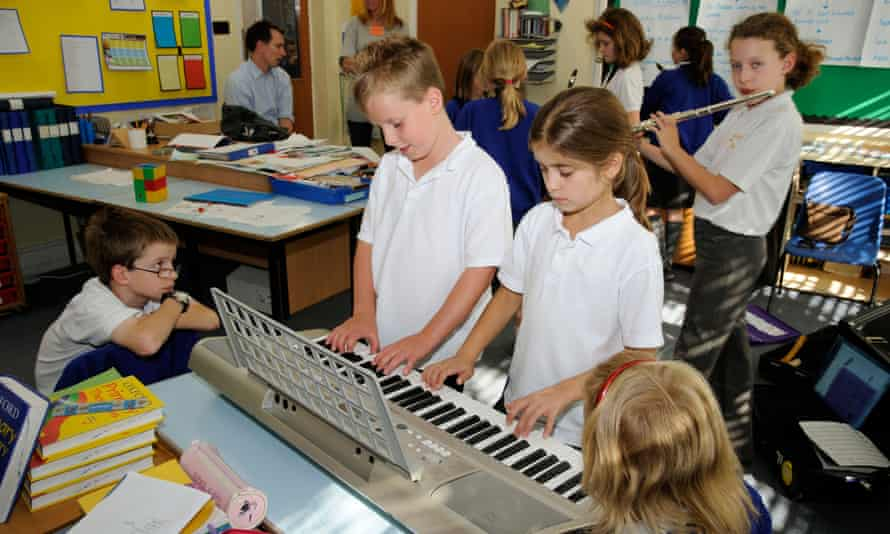 A music lesson in a primary school pre-pandemic.