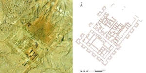 Drone photo of the Tell Khaiber building under excavation in February 2016 (left) with the partially completed ground plan for comparison (right). The building is made up of two parts; the larger north eastern wing is an expansion of the original building.