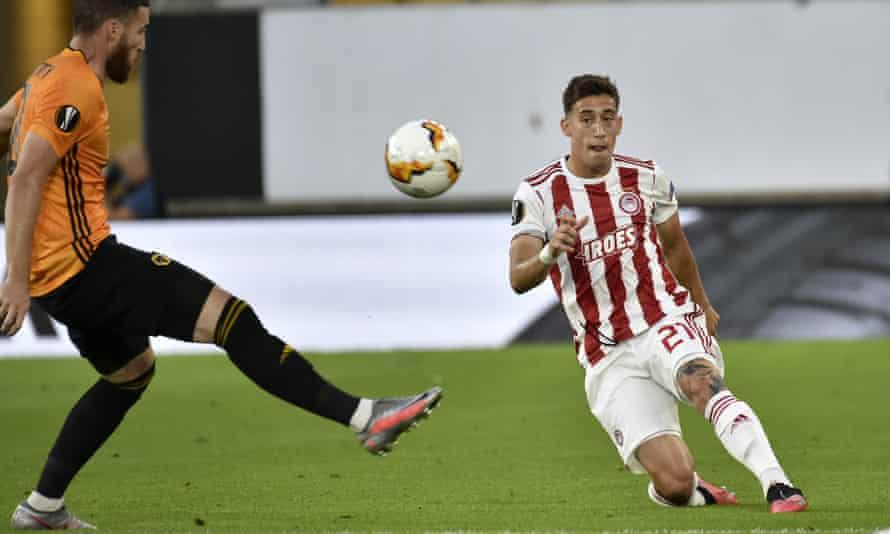Kostas Tsimikas in action for Olympiakos against Wolves last week