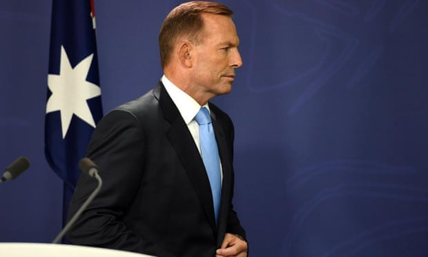 Tony Abbott leaves his brief press conference about the leadership ballot on Friday.