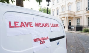 A 'removal van' parked outside Boris Johnson's residence by protesters.