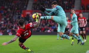 Arsenal's Lucas Torreira vies for possession with Danny Ings at Southampton's St Mary's Stadium.
