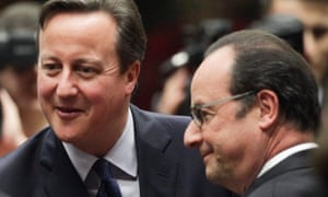 David Cameron and François Hollande at the EU Summit in Brussels in December 2015.