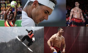 (Clockwise from top left) Peace Proscovia, Rafael Nadal, Pita Taufatofua, Safaa al-Jumaili and Mark McMorris. Photographs by AFP/Getty Images and Tom Jenkins/Guardian. Composite Jim Powell