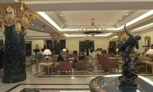 The lobby of the Ritz Carlton hotel in Moscow.