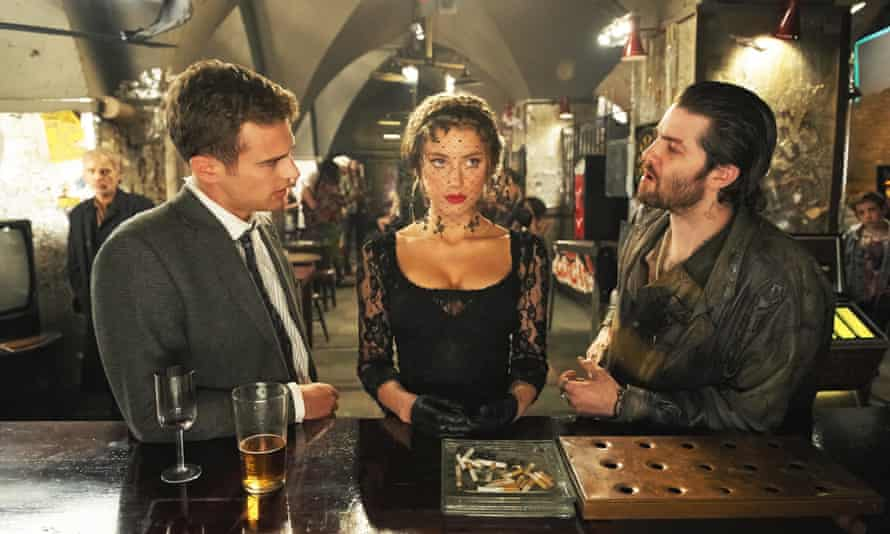 Problem solved … Theo James, Amber Heard and Jim Sturgess in London Fields.