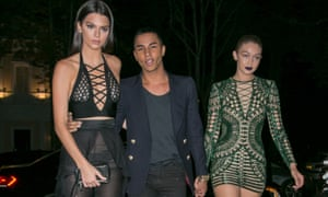 Balmain designer Olivier Rousteing with models Kendall Jenner and Gigi Hadid.