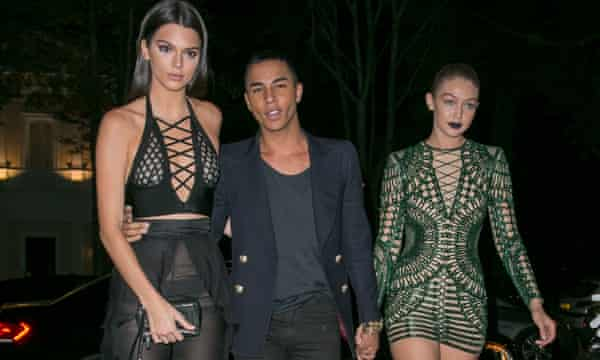 Balmain designer Olivier Rousteing with models Kendall Jenner and Gigi Hadid.