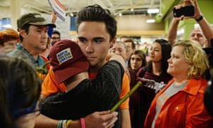 The Parkland shooting survivor and student activist David Hogg at the protest.