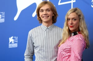 Charlie Plummer with Chloe Sevigny at the Lean on Pete photocall during the 74th Venice film festival.