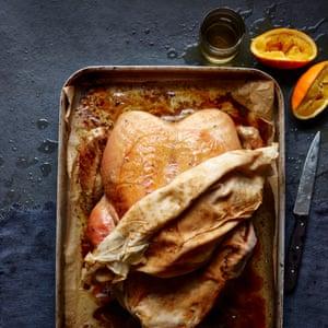 Roast turkey in an over tray