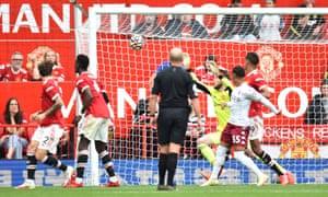 Manchester United's goalkeeper David de Gea (back) concedes a goal.