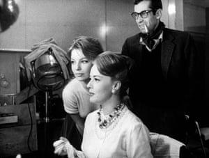Annette Stroyberg, Jeanne Moreau and Roger Vadim on the set of  Les liaisons dangereuses, 1959