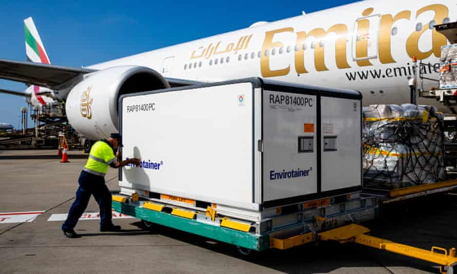 A shipment of 300,000 doses of the AstraZeneca vaccine sent from the UK is unloaded at Sydney airport on 28 February.