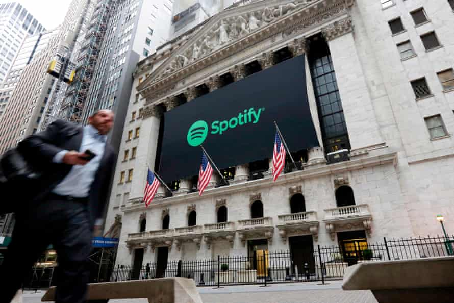 A Spotify banner adorning the facade of the New York Stock Exchange.