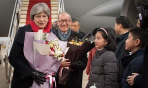 Theresa May and her husband, Philip arrive at Wuhan Tianhe International Airport in Hubei, China, ahead of a business delegation to encourage post-Brexit investment in the UK.