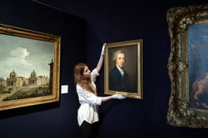 """London, EnglandA portrait of Sir James Graham by Angelica Kauffman is adjusted during """"The Classics"""" photocall at Bonhams auction house."""