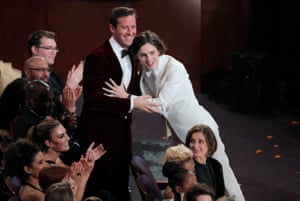 Call Me By Your Name stars Armie Hammer and Timothee Chalamet embrace during the show