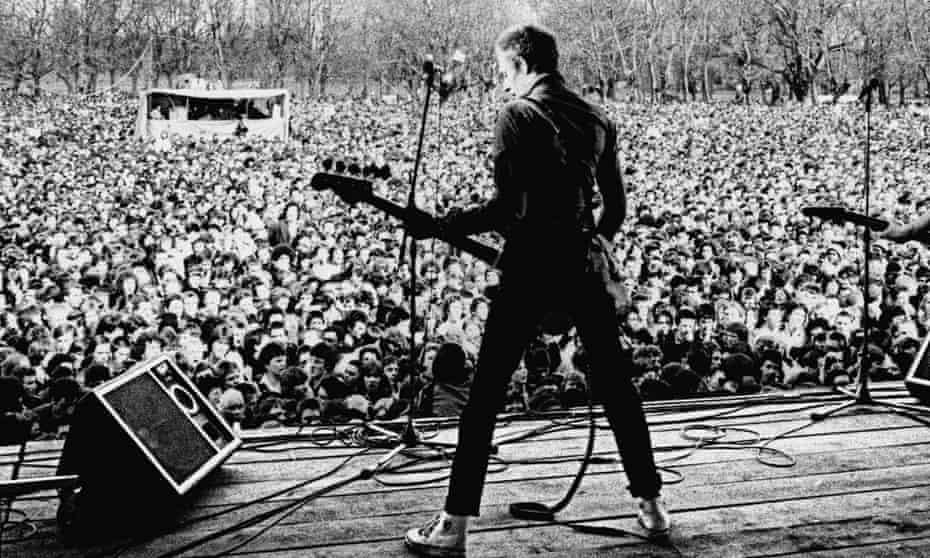 Paul Simonon of the Clash at a Rock Against Racism concert, Victoria Park, east London, April 1978