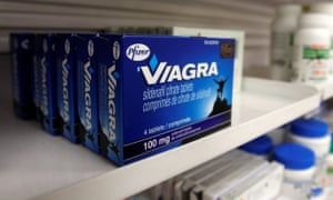 Packets of Viagra on pharmacy shelf