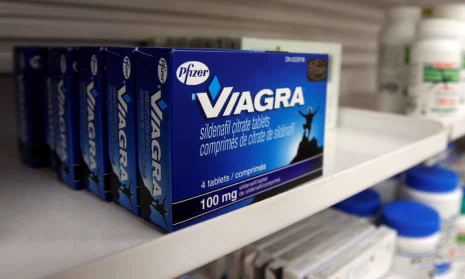 Packets of Viagra on pharmacy shelf