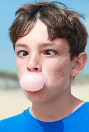 Photographs from the book Bubblegum by photographer Emily Stein showing children enjoying blowing bubblegum with frustration, excitement, surprise and concentration