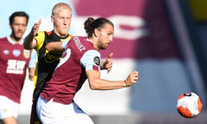 Burnley's Jay Rodriguez tussles with Watford's Will Hughes.