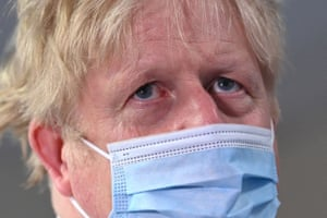 Boris Johnson on a visit to Colchester hospital today.