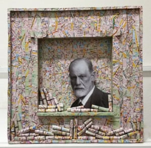 What would Sigmund think of thisThis 12 x 12 inch paper and cardboard assemblage depicts the great oracle Sigmund Freud surrounded by a collage map of his hometown, Vienna. The map is torn into strips to represent the chaos of our minds and the tightly bound scrolls represent the secrets we keep Artwork: kenmaleny/GuardianWitness