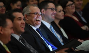 Scott Morrison, centre, at the Australian Housing and Urban Research Institute in Melbourne