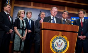 Senators Mike Rounds, Shelley Moore Capito, Roy Blunt, John Hoeven, Jim Inhofe, Joe Manchin and Steve Daines in 2015. Senators are far wealthier than most constituents, and in a prime position to increase wealth via policymaking.
