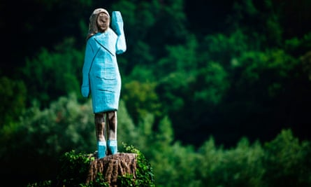 A life-size wooden sculpture of Melania Trump is officially unveiled in Rozno, near her hometown of Sevnica, Slovenia, on 5 July.