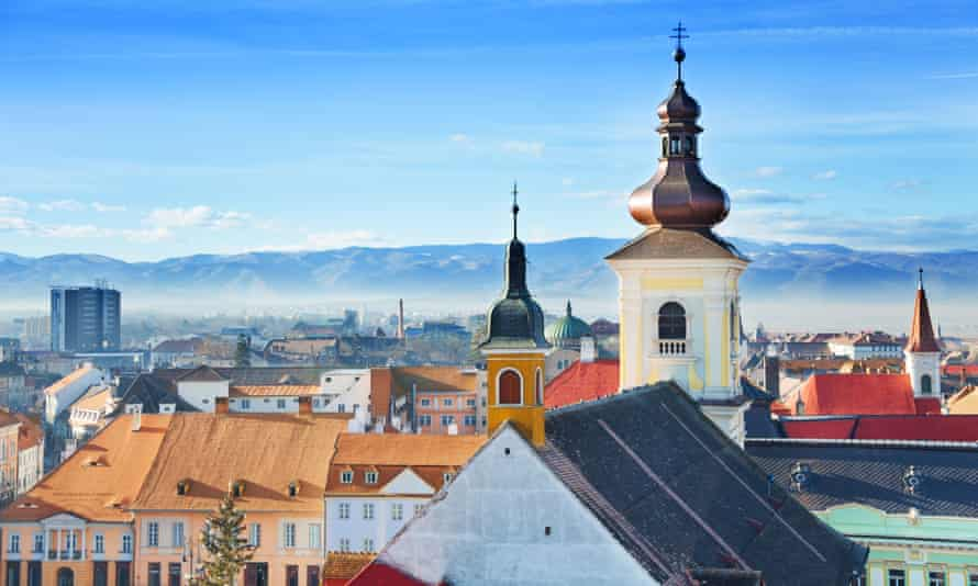 Roman Catholic Church and old town in Sibiu, Romania