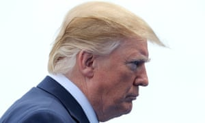 """Donald Trump at the commemorations of the 75th anniversary of the D-Day landings, on 5 June. 'Can we expect the Brexit bus slogan to be changed to """"Let's send our £350m a week to the US instead"""",' asks Daryll Twigger."""