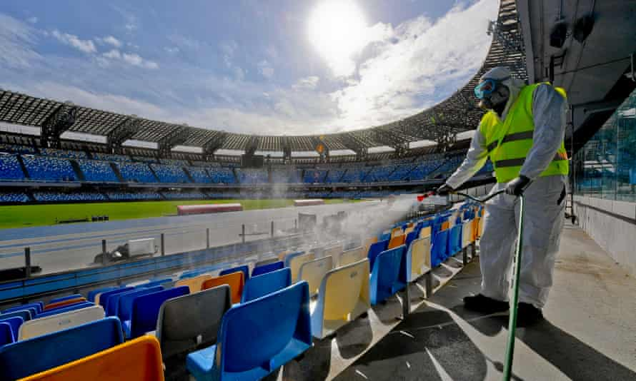 The San Paolo stadium in Naples is disinfected to prevent the spread of coronavirus.