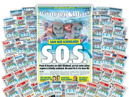 The Courier-Mail front page flanked by multiple News Corp mastheads