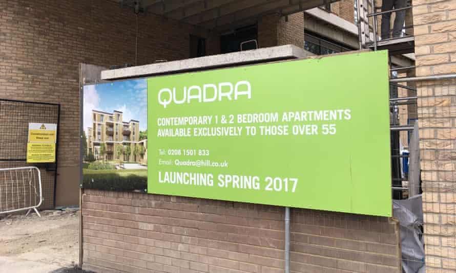 A hoarding for the Quadra development off London Fields, London.