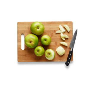 Peel, core and thickly slice the apples, then sprinkle with lemon juice to stop the fruit from discolouring.