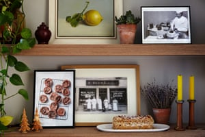 Pierre Hermé's memories (and his chocolate biscuits) shown in photos on the sideboard: 'I knew I wanted to be a patissier from the age of nine.'
