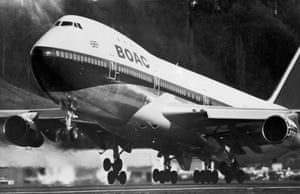 A BOAC Jumbo takes off from Heathrow airport on 7 April 1971. The aircraft were due to begin their service to New York, but had been grounded by a pay dispute.