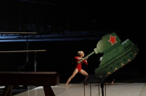 Prague, Czech Republic: A dancer performs during a memorial service for Vera Caslavska