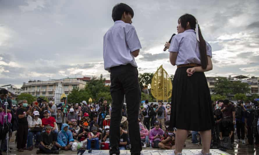 Student protesters address a rally in Bangkok